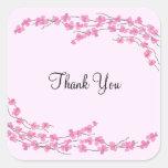 El flor rosado le agradece calcomanía cuadrada