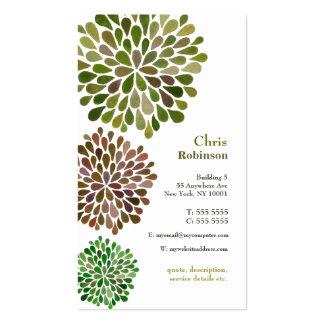 El flor verde estalló la tarjeta de visita neutral