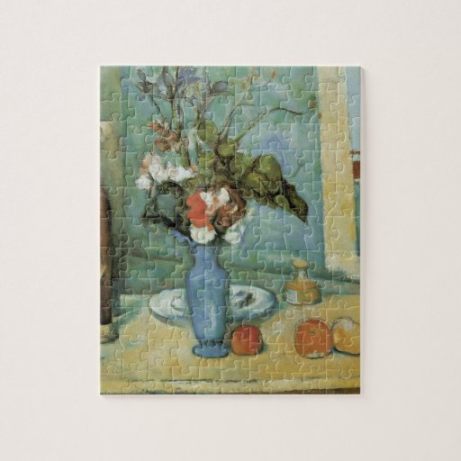 El florero azul (aka flores y fruta) por Cezanne Puzzle