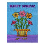 El florero de la primavera feliz florece la postal