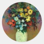 El florero de Odilon Redon con Flowers (1914) Etiquetas Redondas