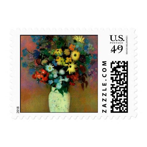El florero de Odilon Redon con Flowers (1914) Franqueo