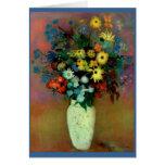 El florero de Odilon Redon con Flowers (1914) Tarjeton