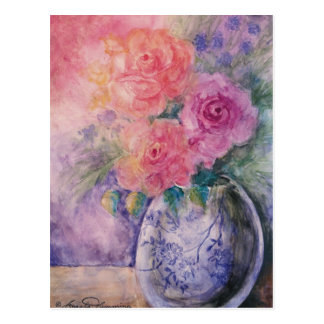 El florero de tarjetas del arte de los rosas tarjeta postal