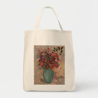 El florero turco, Odilon Redon, vintage florece Bolsa Tela Para La Compra