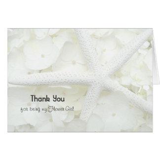 El florista del boda de playa le agradece tarjeta