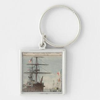 El flotilla francés en Portsmouth Llavero Cuadrado Plateado