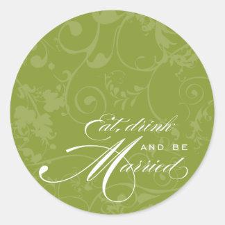El Flourish come, bebe, y sea pegatina casado