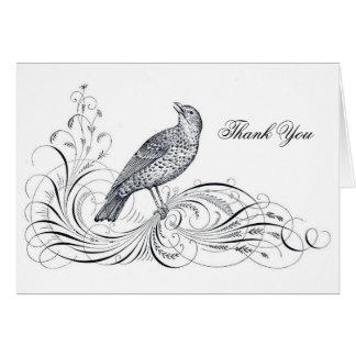 El Flourish del pájaro y de la voluta del diseño d Tarjeta