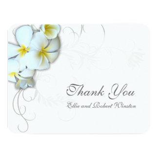 """El Flourish del Plumeria personalizado le agradece Invitación 4.25"""" X 5.5"""""""