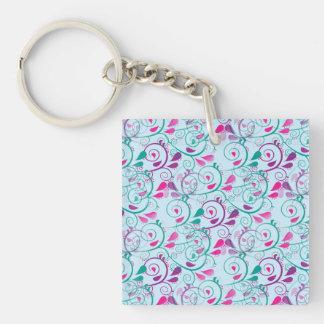 El Flourish floral rosado púrpura del trullo Llavero Cuadrado Acrílico A Doble Cara