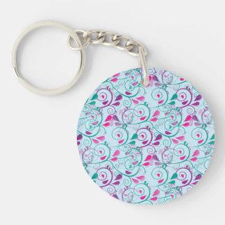 El Flourish floral rosado púrpura del trullo Llavero Redondo Acrílico A Doble Cara