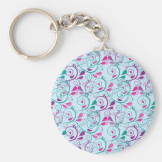 El Flourish floral rosado púrpura del trullo remol Llavero Redondo Tipo Pin