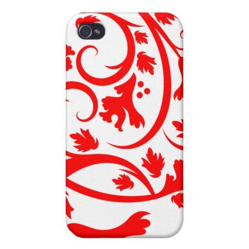 El flourish tropical rojo remolina caso impresiona iPhone 4/4S funda