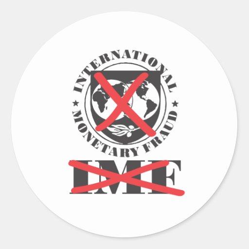 El FMI - el FMI anti - fraude monetario Pegatina Redonda