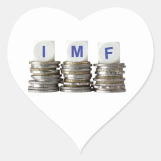 El FMI - Fondo Monetario Internacional Pegatina En Forma De Corazón