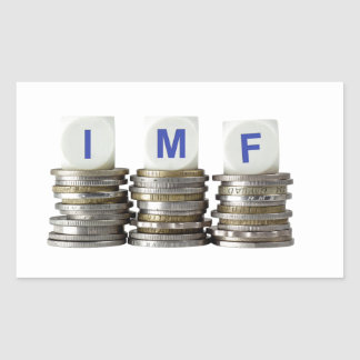 El FMI - Fondo Monetario Internacional Pegatina Rectangular