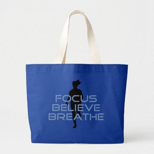 El foco cree respira las camisetas azules bolsa tela grande