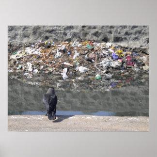 El foco del buche en el poster de la basura