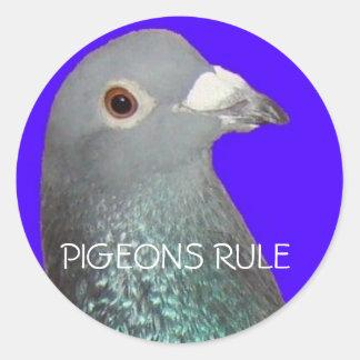 El fondo azul principal de la paloma que compite pegatina redonda
