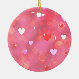 El fondo de la tarjeta del día de San Valentín Adorno Navideño Redondo De Cerámica