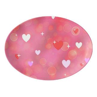 El fondo de la tarjeta del día de San Valentín Badeja De Porcelana