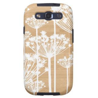 El fondo de madera florece el estampado de flores galaxy SIII cobertura