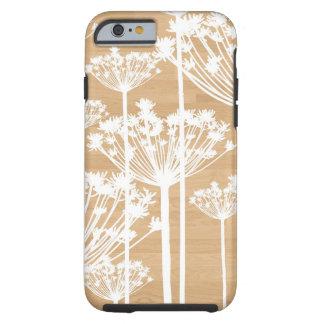 El fondo de madera florece el estampado de flores funda de iPhone 6 tough