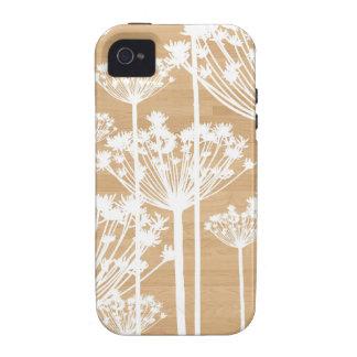 El fondo de madera florece el estampado de flores  iPhone 4/4S funda