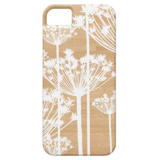 El fondo de madera florece el estampado de flores funda para iPhone SE/5/5s