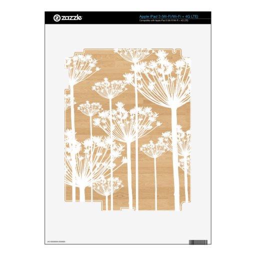 El fondo de madera florece el estampado de flores  iPad 3 pegatina skin