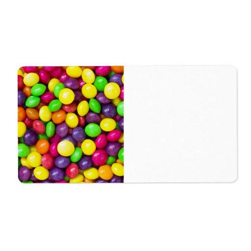 El fondo del caramelo colorido etiquetas de envío