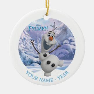 El fondo del copo de nieve de Olaf el   añade su Adorno Navideño Redondo De Cerámica