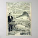 El fonógrafo del concierto de Edison Poster