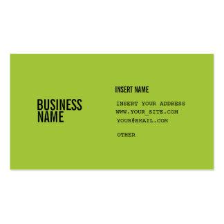 El formato verde con las columnas condensó fuentes tarjetas de visita