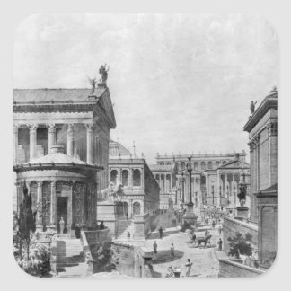 El foro romano de Antiquity, 1914 Pegatina Cuadrada