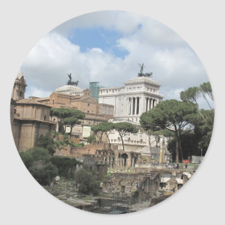 El foro romano - latín: Foro Romanum Pegatina Redonda