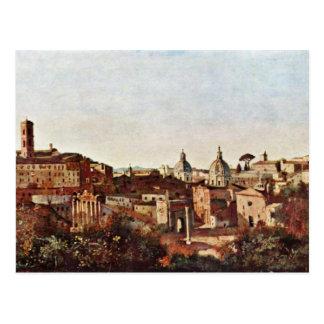 El foro visto de los jardines de Farnese por Corot Tarjetas Postales