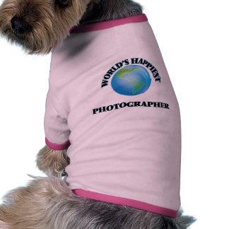 El fotógrafo más feliz del mundo camiseta con mangas para perro