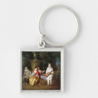 El Foursome, c.1713 Llavero Cuadrado Plateado