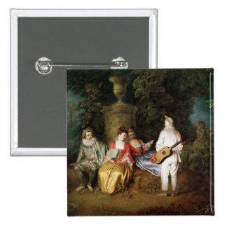 El Foursome, c.1713 Pin Cuadrado