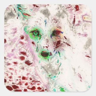 El Fox del fantasma observa rojo y blanco del arte Pegatina Cuadradas Personalizada
