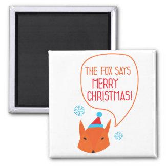 ¡El Fox dice Felices Navidad! Imán Cuadrado