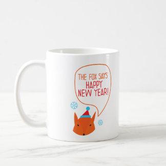 ¡El Fox dice Feliz Año Nuevo! Taza De Café