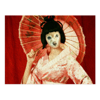 El Fox es geisha rosado Postal