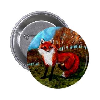El Fox rojo Foxes el botón de los animales de la f Pins