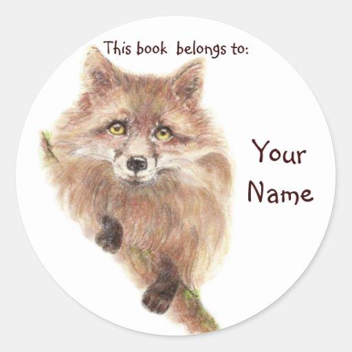 El Fox rojo lindo, este libro pertenece Bookplate Pegatina Redonda