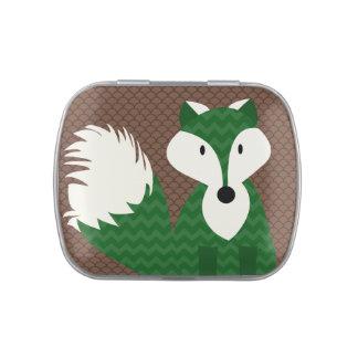 El Fox verde en Brown modeló las latas del caramel Jarrones De Dulces