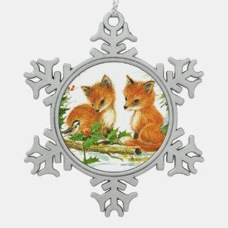 El Fox y el pájaro gozan de nieve del navidad Adorno De Peltre En Forma De Copo De Nieve