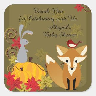 El Fox y la fiesta de bienvenida al bebé animal de Pegatina Cuadrada